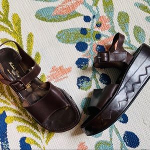 VTG Robert Clegerie Brown Braided Leather Flatform